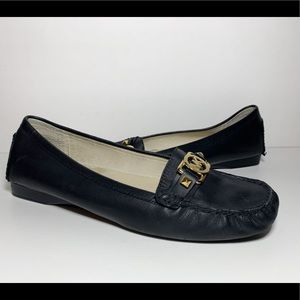 Black Leather Square Toe Flats with Gold Logo